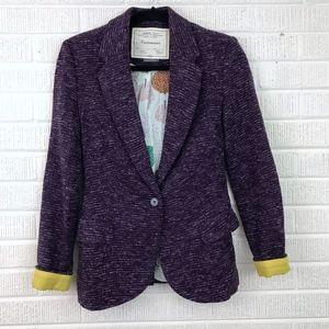 Anthropologie Cartonnier Dashes Knit Blazer Purple